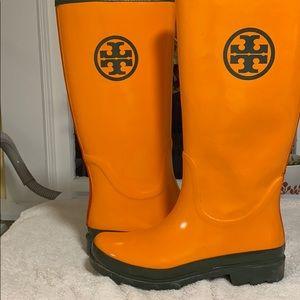 Tory Burch Rain Boots - Bright Orange w/ Green